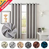 S DOLLCT Premium Energy Saving Thermal Insulated Linen Polyester and Velvet Living Room Curtains,Metal Grommet Window Drapes,52 by 84 – Inch (Set of 2) – Light Grey curtains For Sale