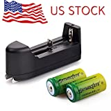 Skywolfeye 2x 1800mAH Green 3.7v Li-ion 16340 CR123A Rechargeable Battery+ Smart Charger US Stock