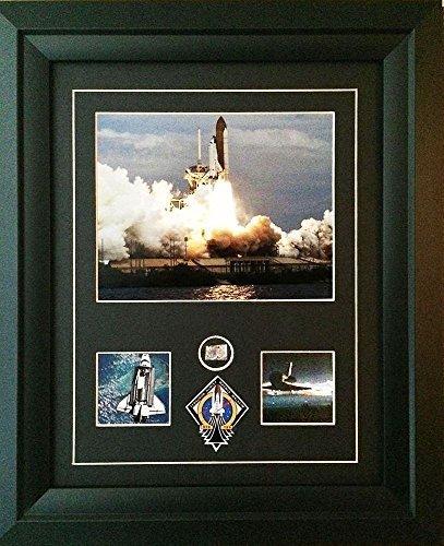 (CENTURY CONCEPT Atlantis Space Shuttle Historic Framed Print and Relic Wall Decor for Collectors | Includes Space Shuttle Fragment, Signature and Certificate of Authenticity)