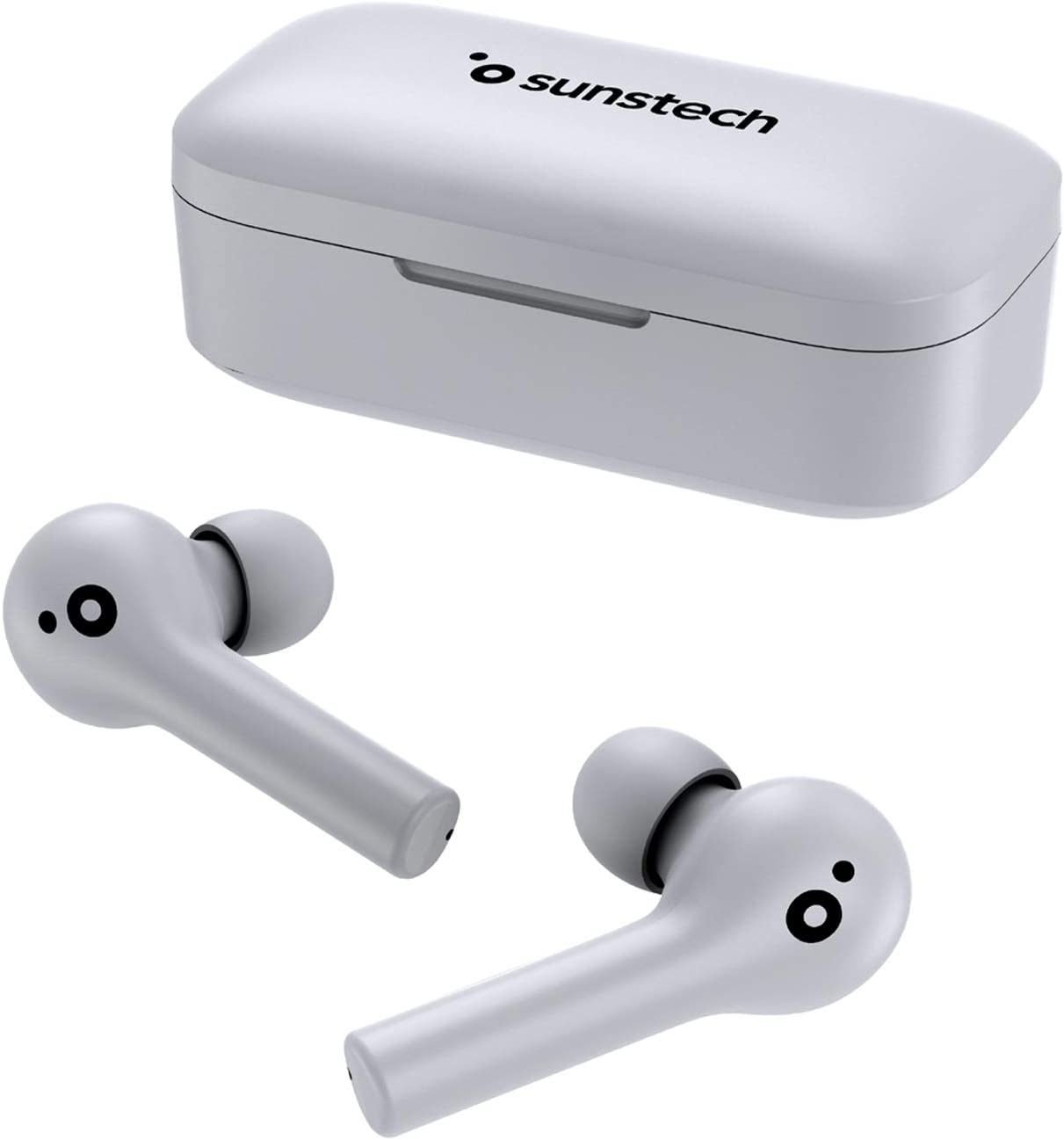 Sunstech WAVEPODS Touch Auriculares TWS True Wireless Stereo Inalámbricos Bluetooth BT V5.0 IPX5 Resistentes al Agua Táctiles Multifunción Estuche de Carga 650mAh Blanco