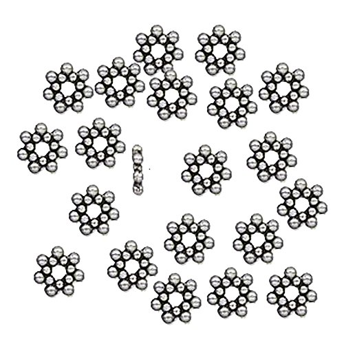Daisy Rondelle Bead (100 6x1.4mm Flower Rondelle Daisy Beads Antiqued Silver Cast Pewter Metal Beads)