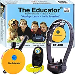Bundle Of 2 Items E Collar Et 400 34 Mile Rechargeable Remote Waterproof Trainer Educator Static Vibration And Sound Stimulation Collar With Petstek Dog Training Clicker