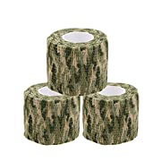 Uning Self-adhesive Protective Camouflage Tape Wrap 5CM x 4.5M Tactical Camo Form Multi-functional Non-woven Fabric Stealth Tape Stretch Bandage for Outdoor Military Hunting (Pack of 3) (Camouflage 2)
