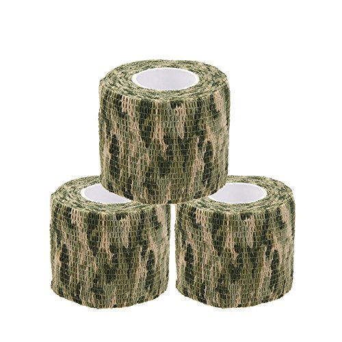 Protective Camouflage Tape Wrap 5CM x 4.5M Tactical Camo Form Multi-functional Non-woven Fabric Stealth Tape Stretch Bandage for Outdoor Military Hunting (Pack of 3) (Camouflage 2) ()