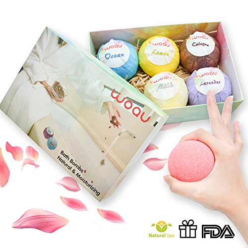 Bath Bombs Gift Set,6 Large Organic Spa Fizzies Kit, USA Degisn Gifts For Women, Mom, Girls,Teens -