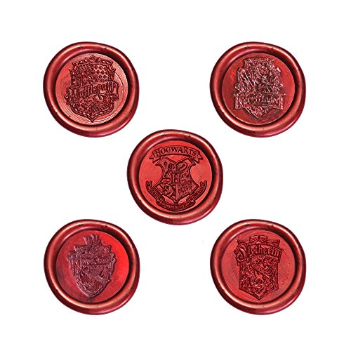 Uniqooo-Arts-Crafts-Vintage-Adhesive-Sealing-Wax-Stamp-Kit-Hogwarts-Ministry-of-Magic-Badge-and-4-House-Badges-Gold-Red-and-Black-Wax-Sticks-with-Wicks-Great-Gift-for-a-Friend-of-Relative