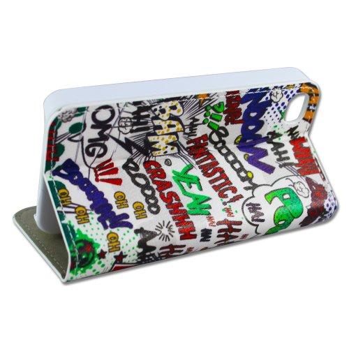Apple iPhone 4 4S Kunstleder COMIC HAHA PLOP Design Flip Schutz-Hülle Case Flip Tasche Cover thematys®