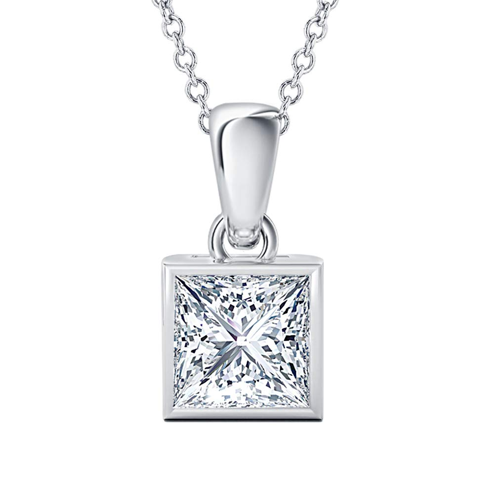 5x7mm to 10x12mm Pear Shaped White CZ Diamond Solitaire Bezel Set Pendant Necklace 14k Gold Over .925 Sterling Silver Valentines Days Special for Womens