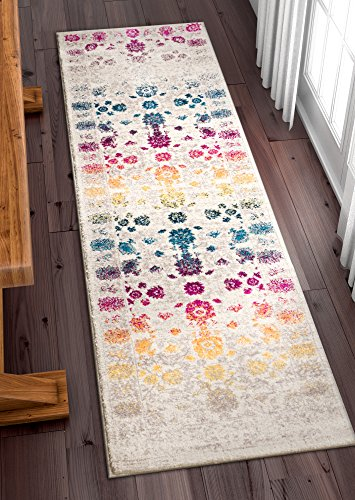 Well Woven Hebe Vintage Distressed Floral Color Wave Bright Mult Striation Color Oriental 2x7 (2'3