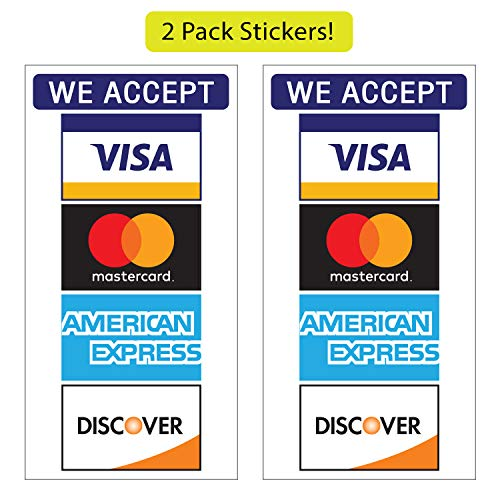 Credit Card Stickers - Visa, MasterCard, Amex and Discover, Vinyl Decals, UV Protected & Waterproof, 3.3 X 6.4 Inch - 2 Pieces