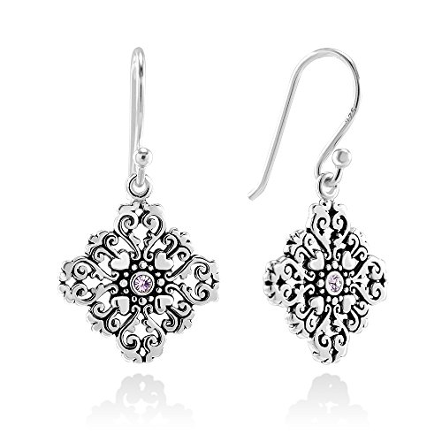 (925 Sterling Silver Purple Glass Filigree Heart Mandala Dangle Hook Earrings)