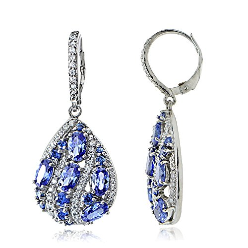 (Sterling Silver Simulated Tanzanite and Cubic Zirconia Teardrop Dangle Earrings)