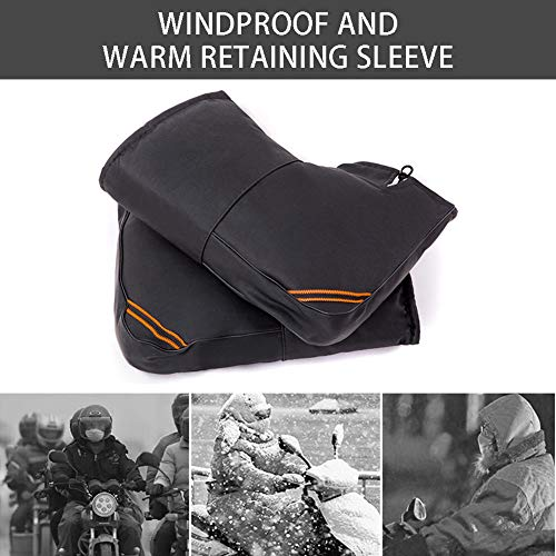INLAR 2pcs Motorcycle Handlebar Muff Winter Warmer Thermal Cover Glove Waterproof Windproof Electric Motorcycle Handlebar Cotton Covers Gloves PU Leather (Black)