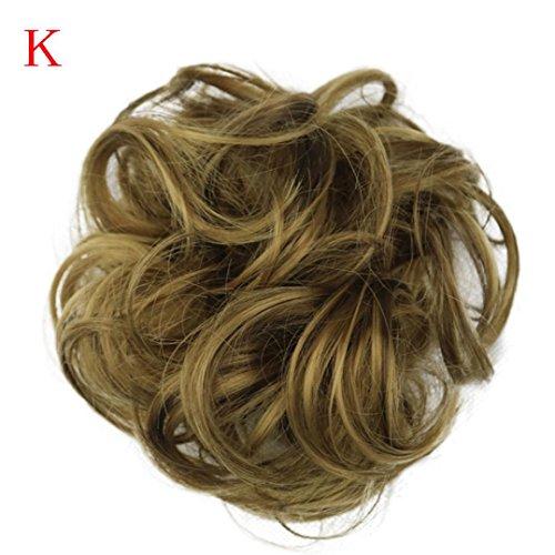 Fullfun Frauen kurze lockige chaotisch Perücken Haarverlängerungen braun schwarz K