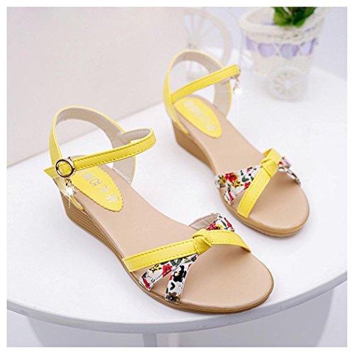 Summer Sandals, Inkach Womens Summer Sandals Peep-toe Low Shoes Roman Sandals Ladies Flip Flops Yellow