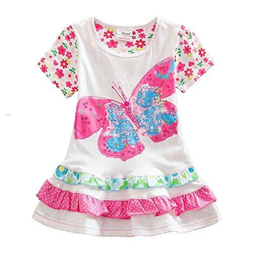 Butterfly Summer Dress - JUXINSU Girl Cotton Short-Sleeved Dress Butterfly Flower for Summer Baby Kids Clothes 1-6 Years SH903 (White, 4t)