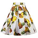 Women's Fashion Pineapple Printed Pleated A-line Flared Midi Skirts Party Dress (White, XXL)