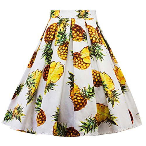 Women's Fashion Pineapple Printed Pleated A-line Flared Midi Skirts Party Dress (White, XXL) by BCDshop_Skirts