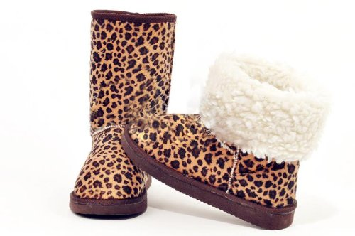 Leopard Comfort Fur Fur Eskimo Snow Boots Flat Mid Womens Round Ankle Ladies Ski Winter Toe Lovely Boots Calf Lined High vwRaaqXH