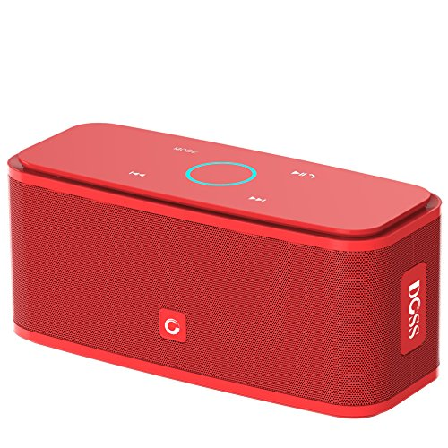 DOSS SoundBox Bluetooth Speaker, Portable Wireless Bluetooth 4.0 Touch Speakers with 12W HD Sound and Bold Bass, Handsfree, 12H playtime for Echo Dot, iPhone, iPad, Samsung, tablet, Gift ideas[Red]