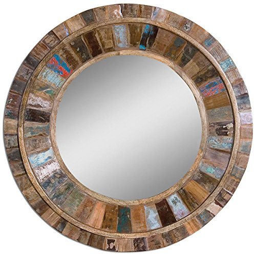 Uttermost 04017 Jeremiah Round Wood Mirror, Multicolor