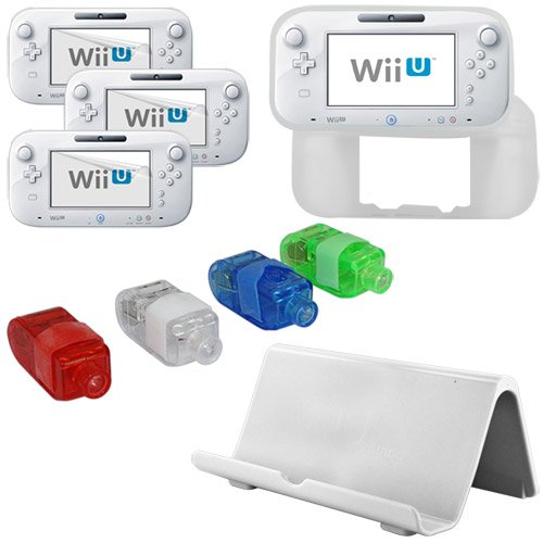 Skque® White Durable Gamepad Console Vertical Stand Dock + LED Finger Torch Light 4 Colors(Blue,White,Red,Green) + 3 Packs of Ultra-Clear Anti Scratch Screen Protector Guard + Clear Soft Silicone Skin Back Case Cover(for Nintendo Wii U Gamepad Remote Controller) for Nintendo Wii U