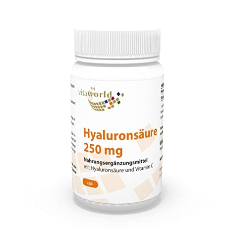 Ácido Hialurónico 250mg + Vitamina C 60 Cápsulas Vegetales Vita World Farmacia