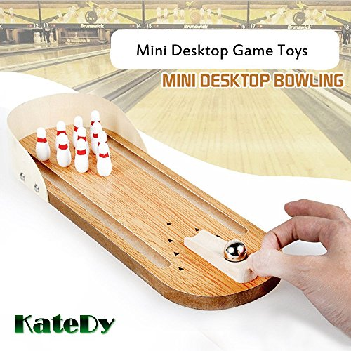 Indoor Wooden Mini Bowling Game - Best Family Party Play Board Desk Top Toys For Kids Adults Bowling Fans,Wood Finger Bowling Machine Office Stress Relief Play Set,Home Decor Board Games Tobbles Toy by Katedy