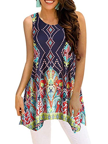 Paewin Women Summer Sleeveless Shirt Casual Print Flowy Tunic Tank Top Multi-2 Large