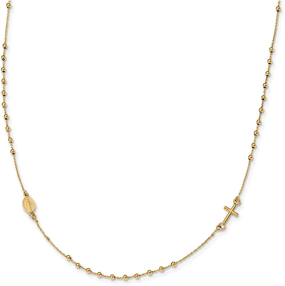 Lex /& Lu 14k Yellow Gold Polished 16 Cross Rosary Necklace LAL117876