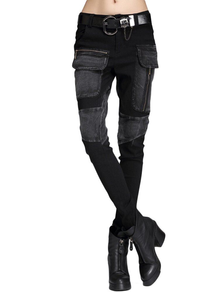 Minibee Women's Harem Patchwork Leather Pocket Punk Style Personalized Pants Black 3 L