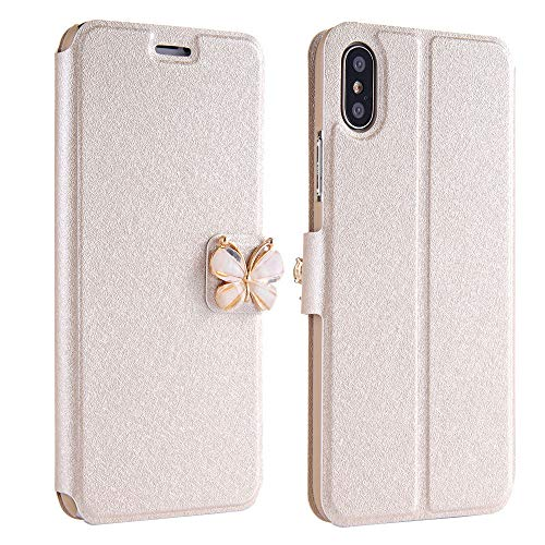 Price comparison product image Hisoul Fit iPhone XR 6.1 inch Case Cover PC+TPU Leather Luxury Flip Leather Slim Wallet Card Magnetic Butterfly Bow Glitter Mobile Phone Case (Beige)