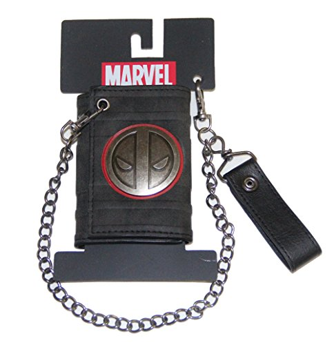 Metal Badge Chain Wallet - Marvel Deadpool Metal badge logo Leather tri-fold Wallet with chain