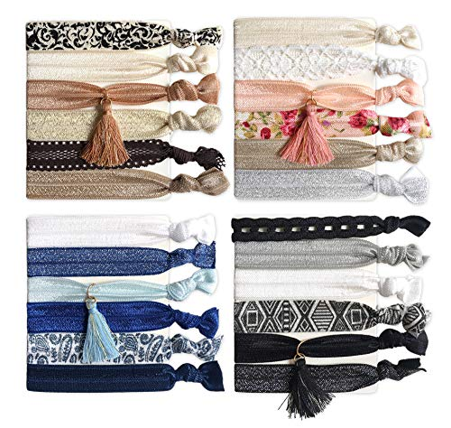 Elastic Ribbon Hair Ties with Tassel, No Crease Knotted Ponytail Holder Hair Bands/Bracelets for Women and Girls(Pack of 24) ()