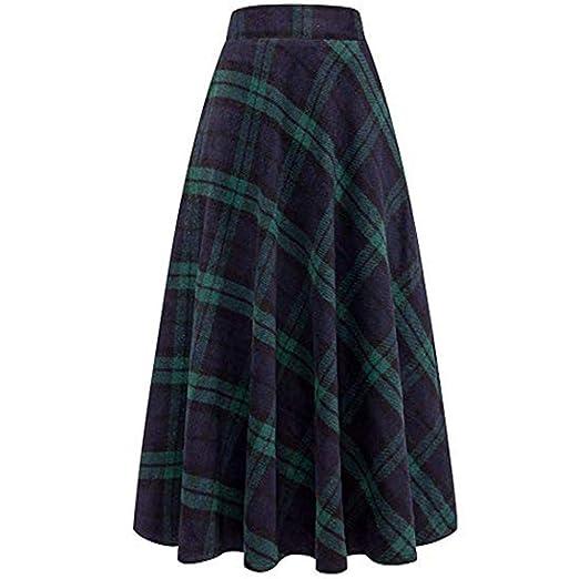 4d2c50dd8 Kehen Women Winter Warm Elastic Waist Wool Plaid A-Line Pleated Long Skirt  Green Small