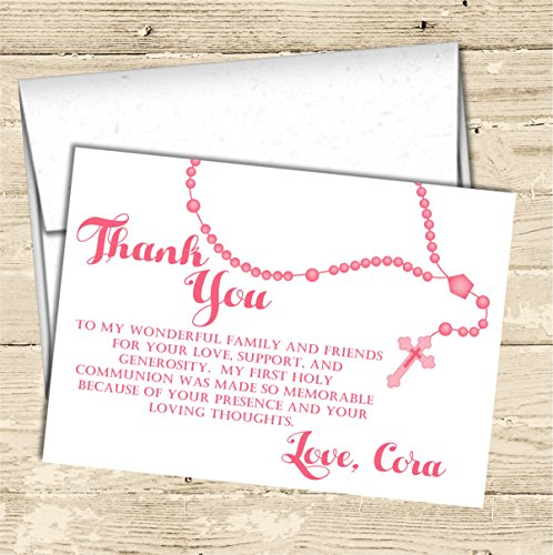 Personalized First Holy Communion Thank You Cards, Holy Communion Supplies, Holy Communion Decor by Party Beautifully