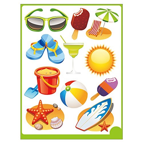 CoSopo Party Accessory Kid's Room Decorative Wall Art Stickers Decals (1, Summer)
