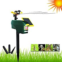 High quality 2pcs Solar Powered Wild Animal Repeller PIR Motion Activated Jet Spray Sprinkler ScareCrow