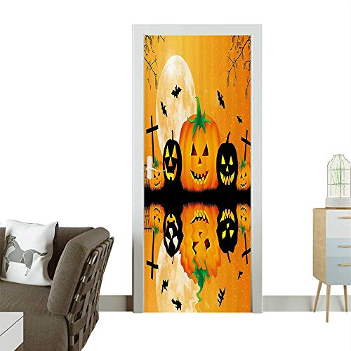 Homesonne Decorative Door Decal Spooky Carved Halloween Pumpkin Full Mo with Bats and Grave by Lake Stick The Picture on The doorW38.5 x H77 -