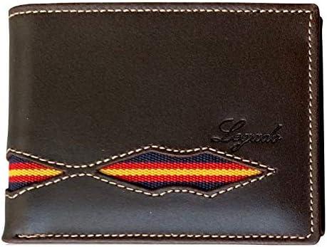 Cartera Hombre Marino Piel tratada con Bandera España (Horizontal Marrón Vox sin Broche): Amazon.es: Equipaje