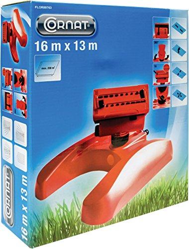 Cornat Regner Viereckregner Kunststoff maximal Bewässerungsfläche bei 4,2 bar, 16 x 13 m, circa 208 m², Wasserdurchflussregler, 16 Düsen, Mehrfarbig