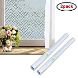 Wopeite Non-Adhesive 2 Pack Static Frosted Privacy Window Film Stained Glass Home Bathroom Living Room (35.4 X 78.7inches)