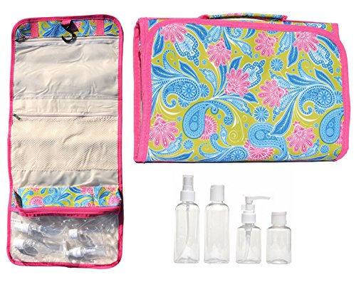 [Pink Green Paisley New Large Hanging Travel Makeup Toiletries Cosmetic Bag Case Organizer with 4 Pack Travel Size Bottle Set Gift Idea Teen Girls Women Mom] (Last Minute Costume Ideas College)