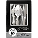 Amscan Reusable Party Friendly Premium Plastic Cutlery Assortment, Silver, Pack of 100 Supplies , 1200 Pieces