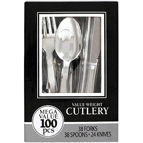 Amscan Reusable Party Friendly Premium Plastic Cutlery Assortment, Silver, Pack of 100 Supplies , 1200 Pieces by Amscan