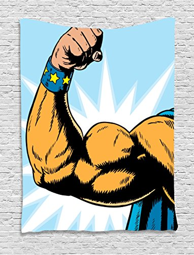 Comics Decor Tapestry by Ambesonne, Superhero Arm Flexing Muscles Powerful Fiction Character Cartoon Graphic, Wall Hanging for Bedroom Living Room Dorm, 60 W x 80 L Inches, Merigold Blue (Most Powerful Female Superhero)