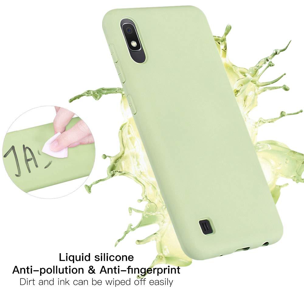 Silicona Gel de Goma a Prueba de Choques Carcasa Verde Protectores de Pantalla in Cristal Templado Wanxideng Funda de Silicona l/íquida para Samsung Galaxy A10