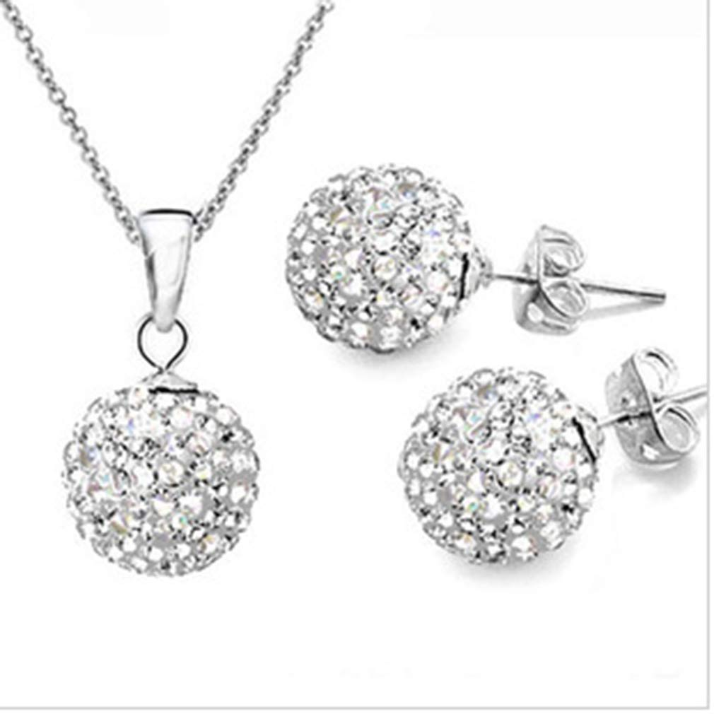 DONGMING Womens Crystal Disco Ball Pendant Necklace and Stud Earrings Set Rhinestone Wedding Jewelry Set for Brides & Bridesmaids,White