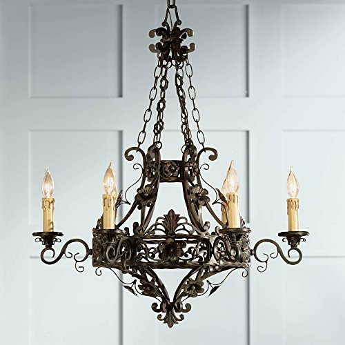 Merrifield 28' Wide Dark Bronze 6-Light Iron Chandelier - Franklin Iron Works
