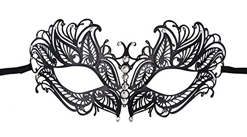 [TAUT Metal Laser Cut Opera Party Masquerade Mask,Butterfly Black Clear Diamond] (Party City Costume Fashion Masks Masquerade)